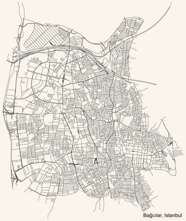 Black simple detailed street roads map on vintage beige background of the neighbourhood district BaÄŸcılar of Istanbul, Turkey Ilustração