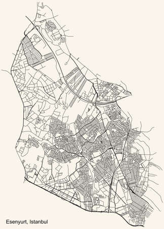 Black simple detailed street roads map on vintage beige background of the neighbourhood district Esenyurt of Istanbul, Turkey