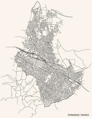 Black simple detailed street roads map on vintage beige background of the neighbourhood district Sultanbeyli of Istanbul, Turkey Ilustração
