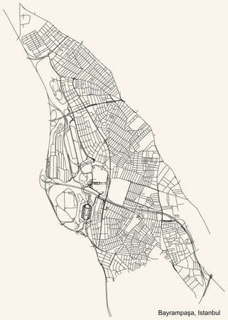 Black simple detailed street roads map on vintage beige background of the neighbourhood district BayrampaÅŸa of Istanbul, Turkey Ilustração