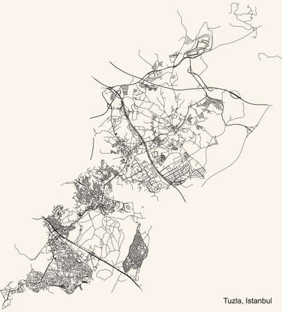 Black simple detailed street roads map on vintage beige background of the neighbourhood district Tuzla of Istanbul, Turkey