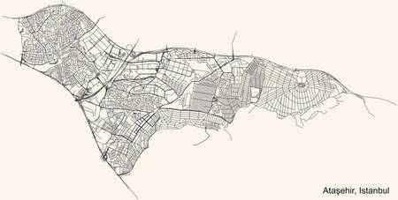 Black simple detailed street roads map on vintage beige background of the neighbourhood district AtaÅŸehir of Istanbul, Turkey