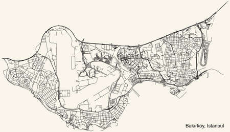 Black simple detailed street roads map on vintage beige background of the neighbourhood district Bakırköy of Istanbul, Turkey