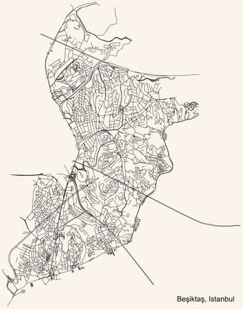 Black simple detailed street roads map on vintage beige background of the neighbourhood district BeÅŸiktaÅŸ of Istanbul, Turkey