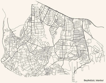 Black simple detailed street roads map on vintage beige background of the neighbourhood district Beylikdüzü of Istanbul, Turkey