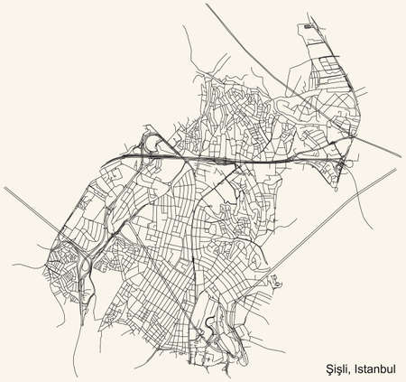 Black simple detailed street roads map on vintage beige background of the neighbourhood district ÅžiÅŸli of Istanbul, Turkey Ilustração