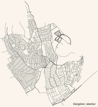 Black simple detailed street roads map on vintage beige background of the neighbourhood district Güngören of Istanbul, Turkey
