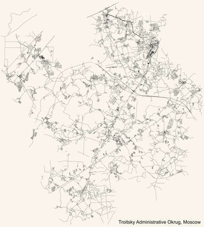 Black simple detailed street roads map on vintage beige background of the neighbourhood Troitsky Administrative Okrug of Moscow, Russia