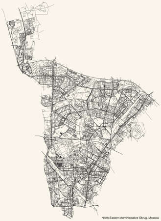Black simple detailed street roads map on vintage beige background of the neighbourhood North-Eastern Administrative Okrug of Moscow, Russia