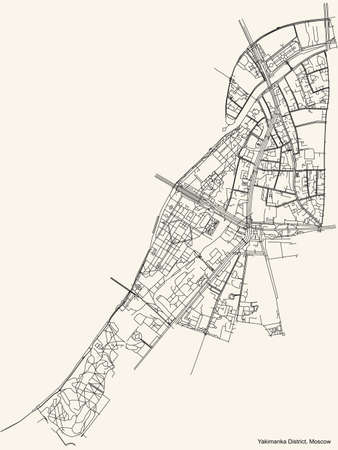 Black simple detailed street roads map on vintage beige background of the neighbourhood Yakimanka District of the Central Administrative Okrug of Moscow, Russia