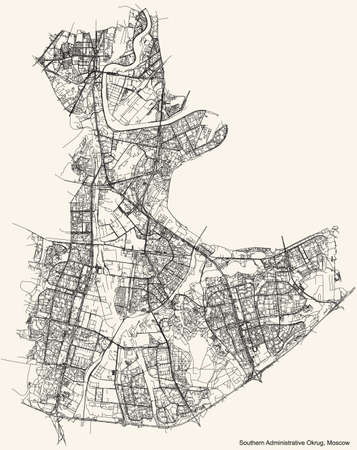 Black simple detailed street roads map on vintage beige background of the neighbourhood Southern Administrative Okrug of Moscow, Russia
