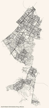 Black simple detailed street roads map on vintage beige background of the neighbourhood South-Western Administrative Okrug of Moscow, Russia Ilustração