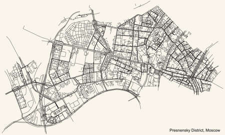 Black simple detailed street roads map on vintage beige background of the neighbourhood Presnensky District of the Central Administrative Okrug of Moscow, Russia