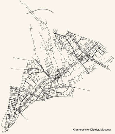Black simple detailed street roads map on vintage beige background of the neighbourhood Krasnoselsky District of the Central Administrative Okrug of Moscow, Russia Ilustração