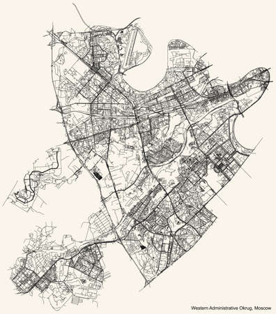 Black simple detailed street roads map on vintage beige background of the neighbourhood Western Administrative Okrug of Moscow, Russia Ilustração