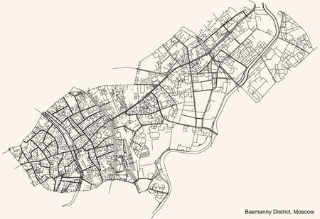 Black simple detailed street roads map on vintage beige background of the neighbourhood Basmanny District of the Central Administrative Okrug of Moscow, Russia Ilustração
