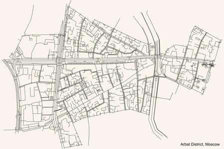 Black simple detailed street roads map on vintage beige background of the neighbourhood Arbat District of the Central Administrative Okrug of Moscow, Russia