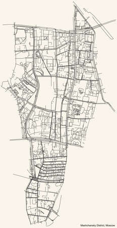 Black simple detailed street roads map on vintage beige background of the neighbourhood Meshchansky District of the Central Administrative Okrug of Moscow, Russia Ilustração