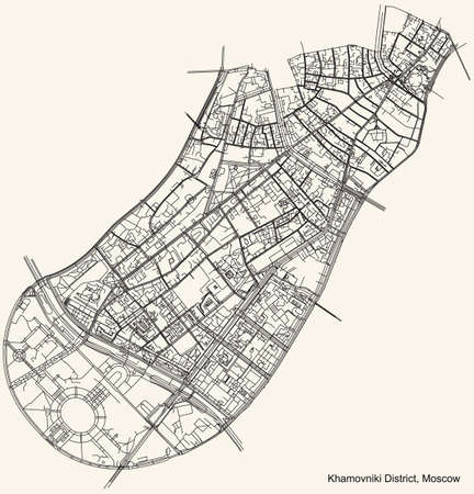 Black simple detailed street roads map on vintage beige background of the neighbourhood Khamovniki District of the Central Administrative Okrug of Moscow, Russia