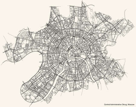 Black simple detailed street roads map on vintage beige background of the neighbourhood Central Administrative Okrug of Moscow, Russia Ilustração