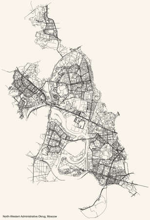 Black simple detailed street roads map on vintage beige background of the neighbourhood North-Western Administrative Okrug of Moscow, Russia