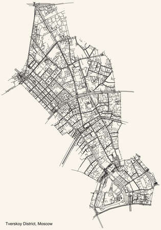 Black simple detailed street roads map on vintage beige background of the neighbourhood Tverskoy District of the Central Administrative Okrug of Moscow, Russia
