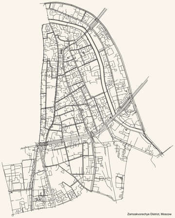 Black simple detailed street roads map on vintage beige background of the neighbourhood Zamoskvorechye District of the Central Administrative Okrug of Moscow, Russia