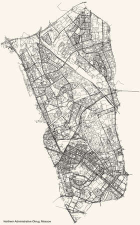 Black simple detailed street roads map on vintage beige background of the neighbourhood Northern Administrative Okrug of Moscow, Russia