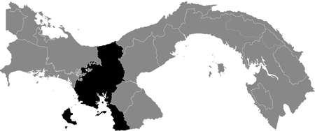Black location map of the Panamanian Veraguas province inside gray map of Panama