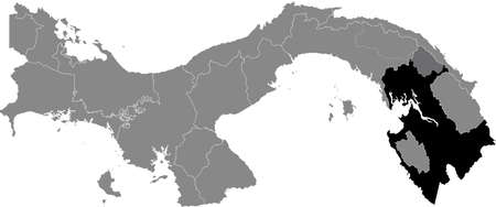 Black location map of the Panamanian Darién province inside gray map of Panama