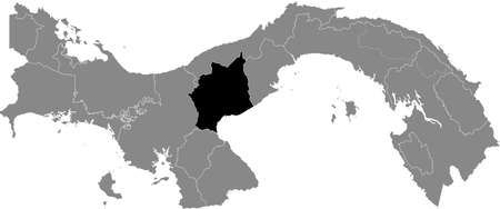 Black location map of the Panamanian Coclé province inside gray map of Panama