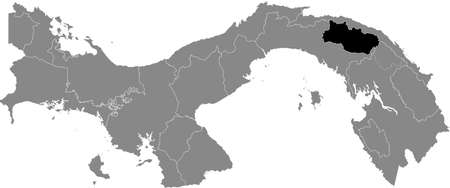 Black location map of the Panamanian Kuna de Madungandí region inside gray map of Panama