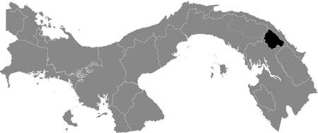 Black location map of the Panamanian Kuna de Wargandí region inside gray map of Panama Ilustração