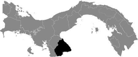 Black location map of the Panamanian Los Santos province inside gray map of Panama