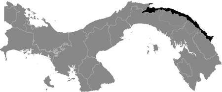 Black location map of the Panamanian Guna Yala indigenous region inside gray map of Panama