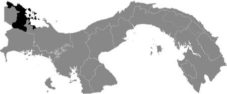 Black location map of the Panamanian Bocas del Toro province inside gray map of Panama
