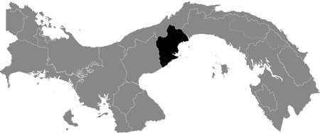 Black location map of the Panamanian Panamá Oeste province inside gray map of Panama