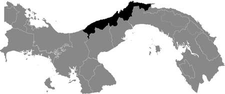 Black location map of the Panamanian Colón province inside gray map of Panama Ilustração
