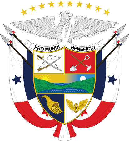 Official current vector coat of arms of unitary presidential constitutional republic of Panama