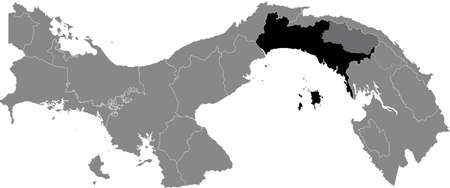 Black location map of the Panamanian Panamá province inside gray map of Panama Ilustração
