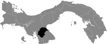Black location map of the Panamanian Herrera province inside gray map of Panama