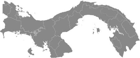 Gray vector map of Panama with white borders of it's departments