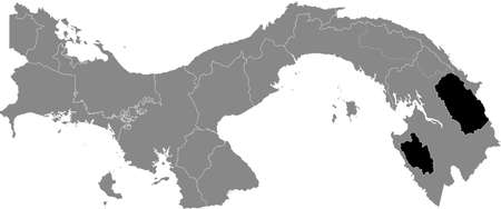 Black location map of the Panamanian Emberá indigenous region inside gray map of Panama Ilustração