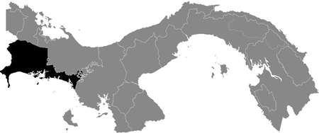 Black location map of the Panamanian Chiriquí province inside gray map of Panama