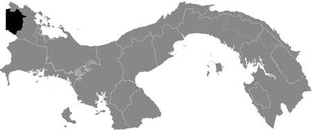 Black location map of the Panamanian Naso TjÃ«r Di indigenous region inside gray map of Panama Ilustração