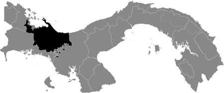 Black location map of the Panamanian Ngäbe-Buglé indigenous region inside gray map of Panama