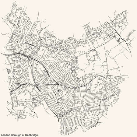 Black simple detailed street roads map on vintage beige background of the neighbourhood London Borough of Redbridge, England, United Kingdom