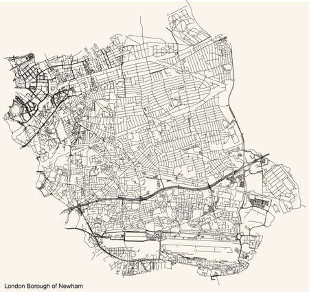 Black simple detailed street roads map on vintage beige background of the neighbourhood London Borough of Newham, England, United Kingdom