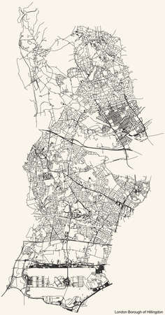 Black simple detailed street roads map on vintage beige background of the neighbourhood London Borough of Hillingdon, England, United Kingdom