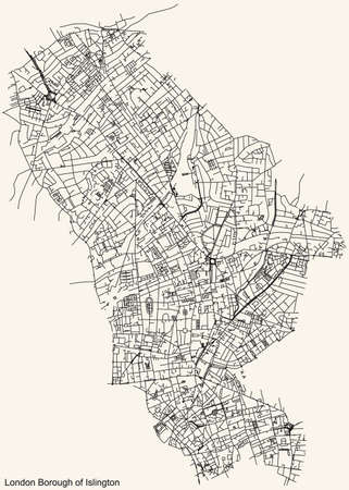 Black simple detailed street roads map on vintage beige background of the neighbourhood London Borough of Islington, England, United Kingdom